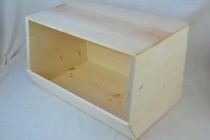 wooden stackable storage bin right side
