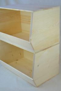 wooden stackable storage bin x2