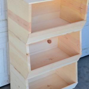 wholesale wooden stackable storage bin x3