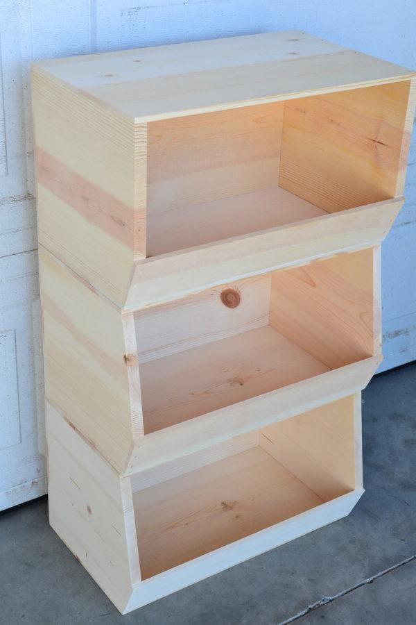 wholesale wooden stackable storage bin x3