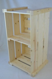 wooden crate shelving side view