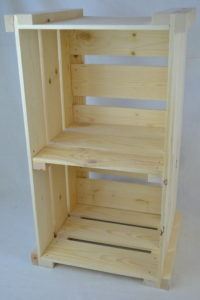 wooden crate shelving front view