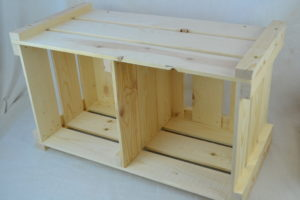 wooden crate shelving on side