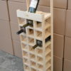 wooden wine tower display right side view