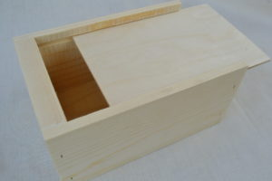 Small wholesale wooden boxes angled view