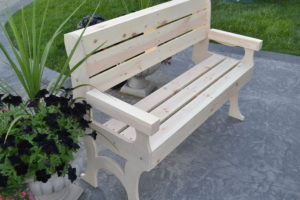 wooden park bench 48 inches long