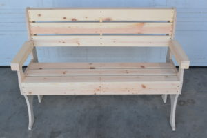 wooden park bench front 2