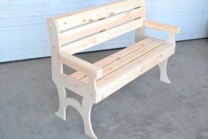 wooden park bench side