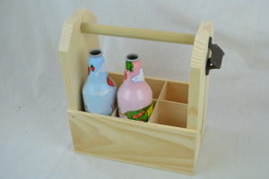 wooden 6 pack with bottles