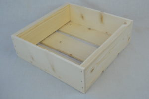 wooden box 9x9x3 angle view