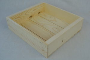 wooden box 11x10x3 side view