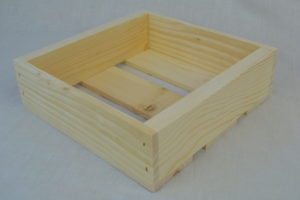 wooden box 12x12x4 angle view