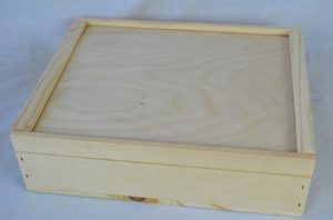 wooden slat pull box closed