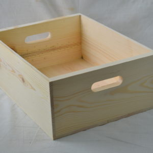 wooden box hand holed 16