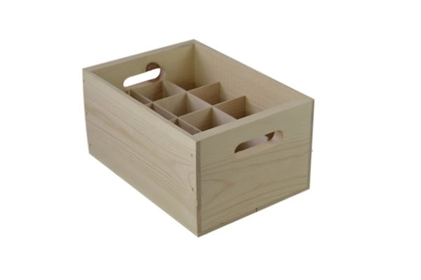 wooden 12 pack tote