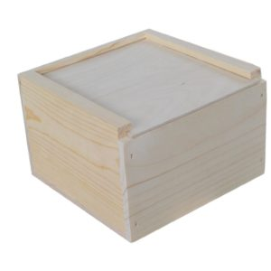 wooden slide top box 8x8x5