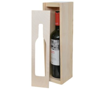 one bottle slide top wooden box with window
