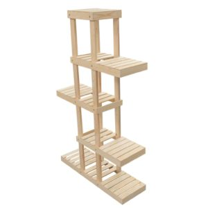 wooden 5-tier alternating shelf display