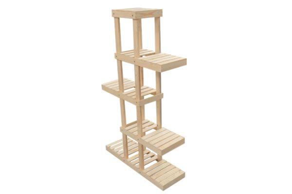 wooden 5-tier alternating shelf display