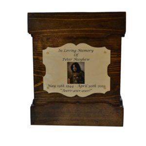 wooden urn dark walnut box