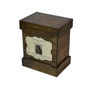 wooden urn dark walnut box