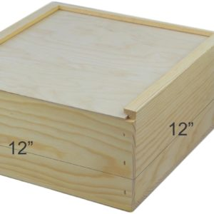 wooden slide top box 12x12x6