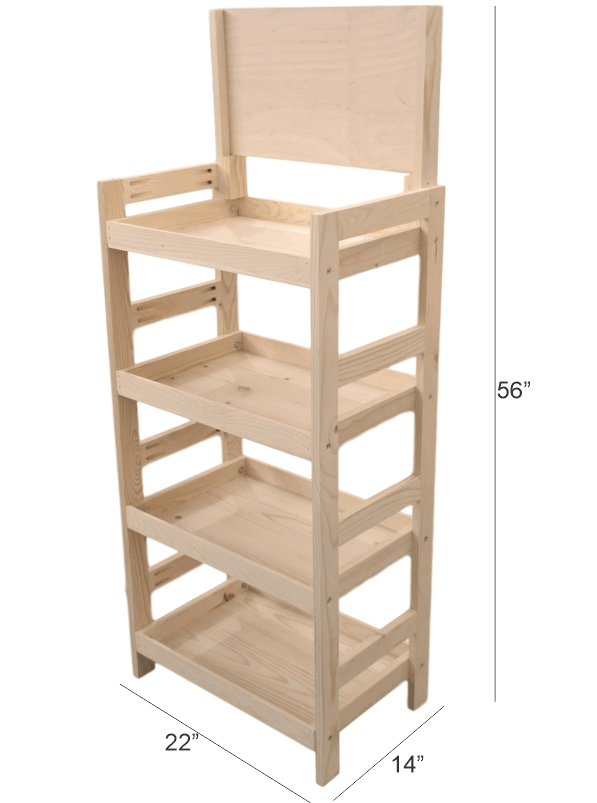wooden 4 tier end-cap display
