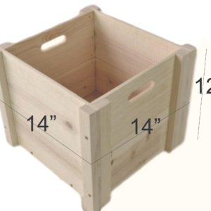 wooden box hand holed