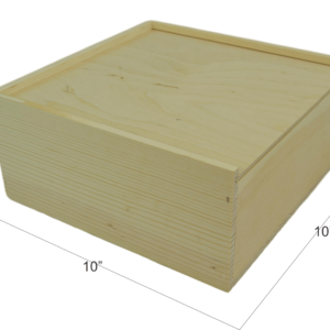 wooden slide top box 10x10x4