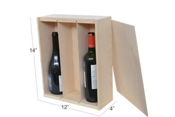 wooden box 3 bottle