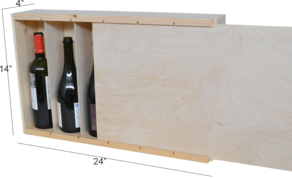 wooden 6 bottle large