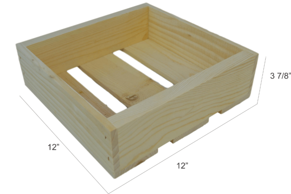 wooden flat box 12x12x4