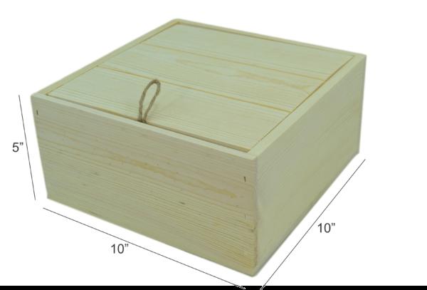 wooden drop lid box 10x10x5